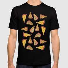 Pizza Pattern Mens Fitted Tee Black SMALL