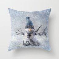 Cute Snowman Frozen Free… Throw Pillow
