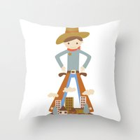 Cowboy In A Lonely Town Throw Pillow