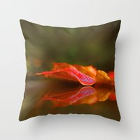 Maple Leaf Reflection Throw Pillow