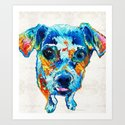 Colorful Little Dog Pop Art by Sharon Cummings Art Print