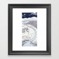 Snowy Night In Japan Framed Art Print