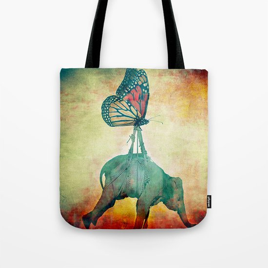 The elephant and the butterfly Tote Bag