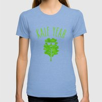 KALE YEAH Womens Fitted Tee Tri-Blue SMALL