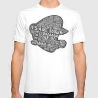 Super Mario Typography Mens Fitted Tee White SMALL