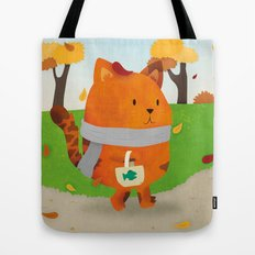A Lovely Walk To The Shops In Autumn Tote Bag