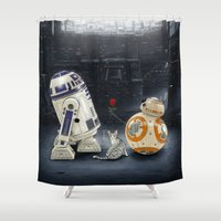 LOVE DROID & THE CAT Shower Curtain