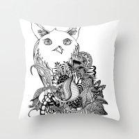 Inking Owl Throw Pillow