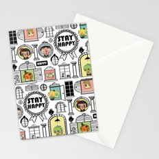 Pattern Stay Happy Animals Stationery Cards