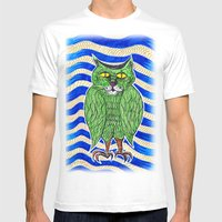 Catlearowl Mens Fitted Tee White SMALL