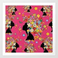 Hummingbird Kiss on Floral Girl  Art Print