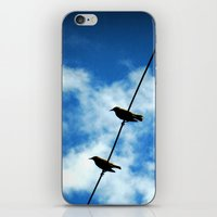 Birds on a Wire -- White clouds, blue sky iPhone & iPod Skin