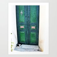 Old Green Door Art Print
