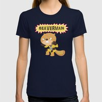 The Incredible Beaverman Womens Fitted Tee Navy SMALL