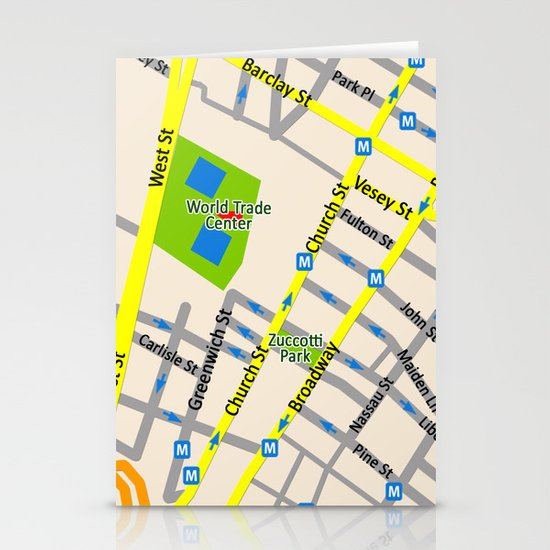 NEW YORK map design Stationery Card