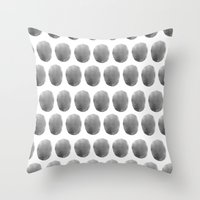 Watercolour polkadot black Throw Pillow