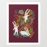 Three Rabbits and a Unicorn Art Print