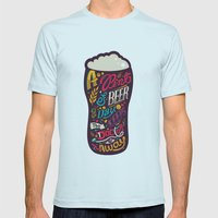 A pint of beer a day. Keeps the doctor away. Mens Fitted Tee Light Blue SMALL