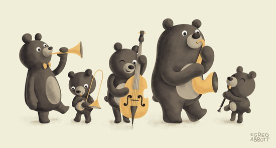Bear Music Canvas Print