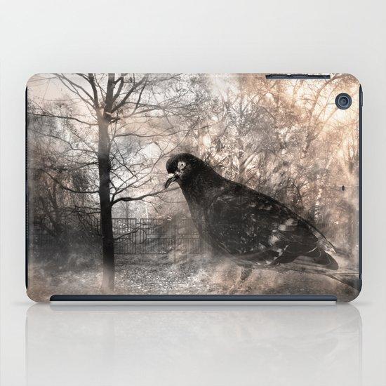 Black bird and the foggy path iPad Case