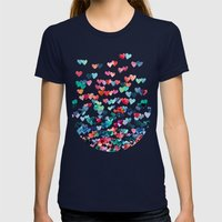 Heart Connections - Wate… Womens Fitted Tee Navy SMALL