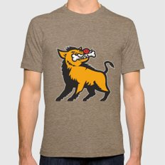 Wild Boar Razorback Bone In Mouth Prancing  Retro Mens Fitted Tee Tri-Coffee SMALL