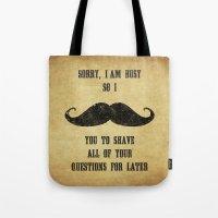 Moustache Questions Tote Bag