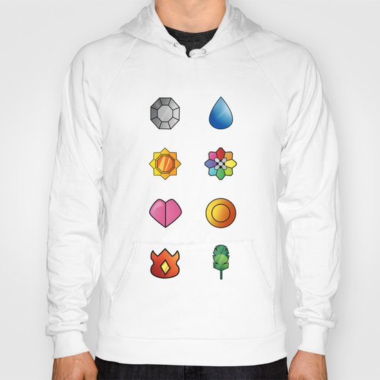 The Kanto Region Pokemon Gym Badges Complete Set Hoody