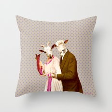 Mr & Ms Sheep Throw Pillow