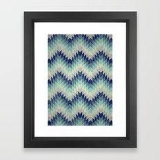 Chevron pattern_Blue Framed Art Print