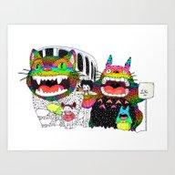 Totoro Fan Art (cat Bus)… Art Print