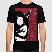 Red Catwoman Mens Fitted Tee Black SMALL
