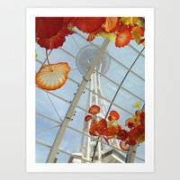Space Needle and Chihuly Glass Exhibit @ Seattle, Washington Art Print
