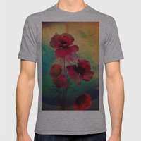 Poppies Mens Fitted Tee Athletic Grey SMALL