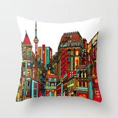Sound of the city - White background cityscape Throw Pillow