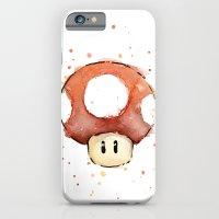Red Mushroom Watercolor Mario Art iPhone 6 Slim Case