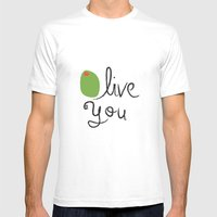 Olive You. Mens Fitted Tee White SMALL