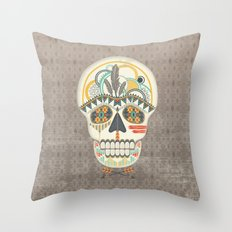 AZTEC SKULL B/W  Throw Pillow