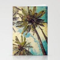 Vintage Blue Hawaii Palm Trees Stationery Cards