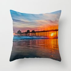 HB Sunsets - Sunset At The Huntington Beach Pier 3/10/16 Throw Pillow