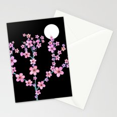 Cherry blossoms at night Stationery Cards