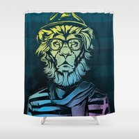 Hipster Lion Black And W… Shower Curtain