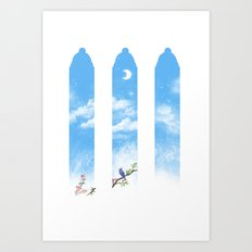 Moon in the sky and a bluebird Art Print