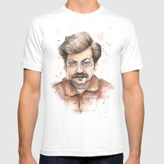 Swanson Love Valentine Portrait Mens Fitted Tee SMALL White