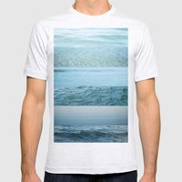 Water Study abstract blue waves Mens Fitted Tee Ash Grey SMALL