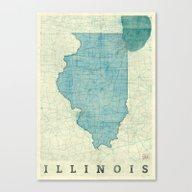 Illinois Map Blue Vintag… Canvas Print