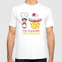 Cupcake Obsession Mens Fitted Tee White SMALL