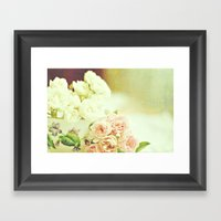 Roses And Teacup Framed Art Print