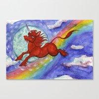 Cadmium Red Unicorn In M… Canvas Print