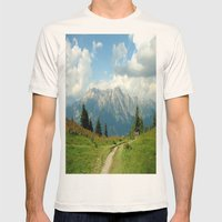 Mountain Range In Austri… Mens Fitted Tee Natural SMALL
